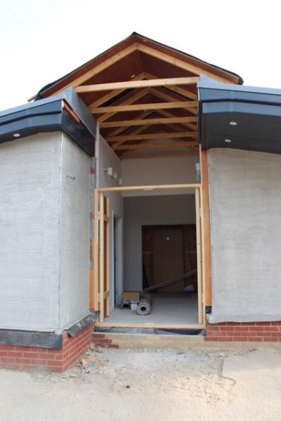 Front entrance Awaiting the glass skylight & entrance doors